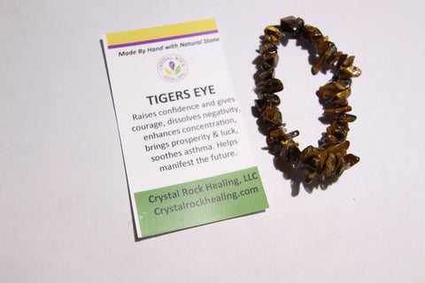 Natural Stone Chip Bracelet 7 inch stretch-Tigers Eye