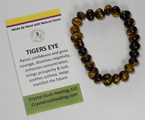 Natural Stone Gem Bracelet 7 inch Stretch-Tigers Eye