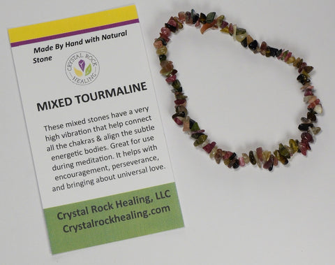 Natural Stone Chip Bracelet 7 inch Stretch-Mixed Tourmaline