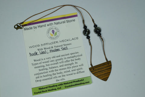 Wood Diffuser Necklace-B Wood & Abalone Shell