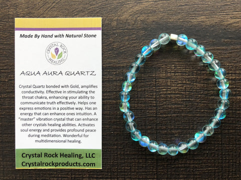 Natural Stone Gem Bracelet 7 inch Stretch-Aqua Aura Quartz