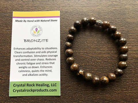 Natural Stone Gem Bracelet 7 inch Stretch-Bronzite