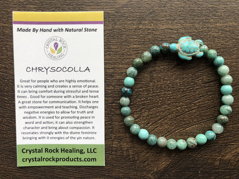 Natural Stone Gem Bracelet 7 inch Stretch-Chrysocolla