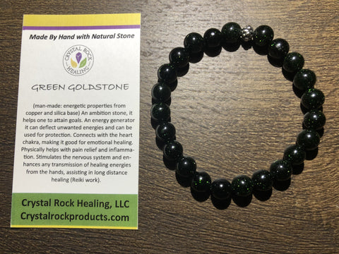 Natural Stone Gem Bracelet 7 inch Stretch-Green Goldstone