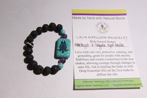 Lava Diffuser Bracelet-Amethyst w/ Turquoise Dyed Howlite Turtle