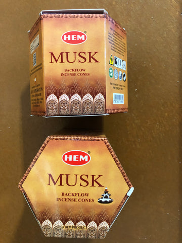 Backflow Hem Incense Cones-Musk