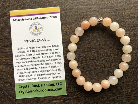 Natural Stone Gem Bracelet 7 inch Stretch-Pink Opal