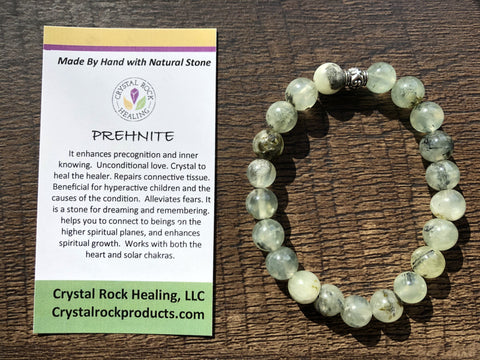 Natural Stone Gem Bracelet 7 inch Stretch-Prehnite