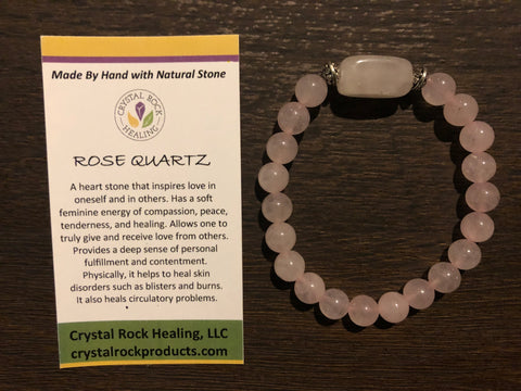 Natural Stone Gem Bracelet 7 inch Stretch-Rose Quartz