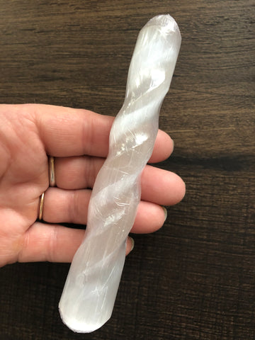 Selenite Spiral Wand