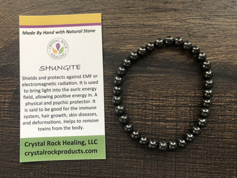 Natural Stone Gem Bracelet 7 inch Stretch -Shungite