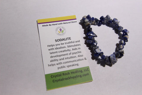 Natural Stone Chip Bracelet 7 inch stretch-Sodalite