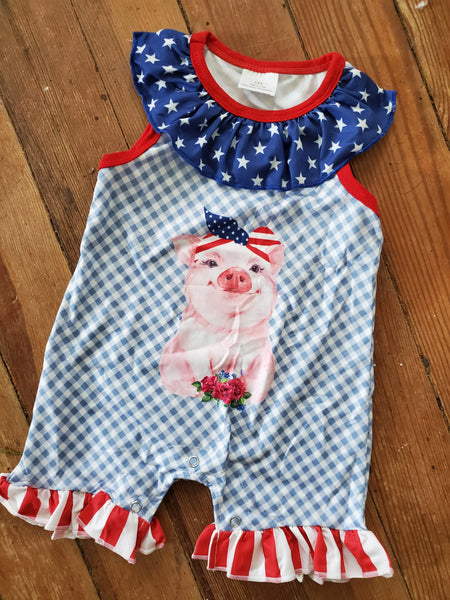 Girls pudgy pig romper