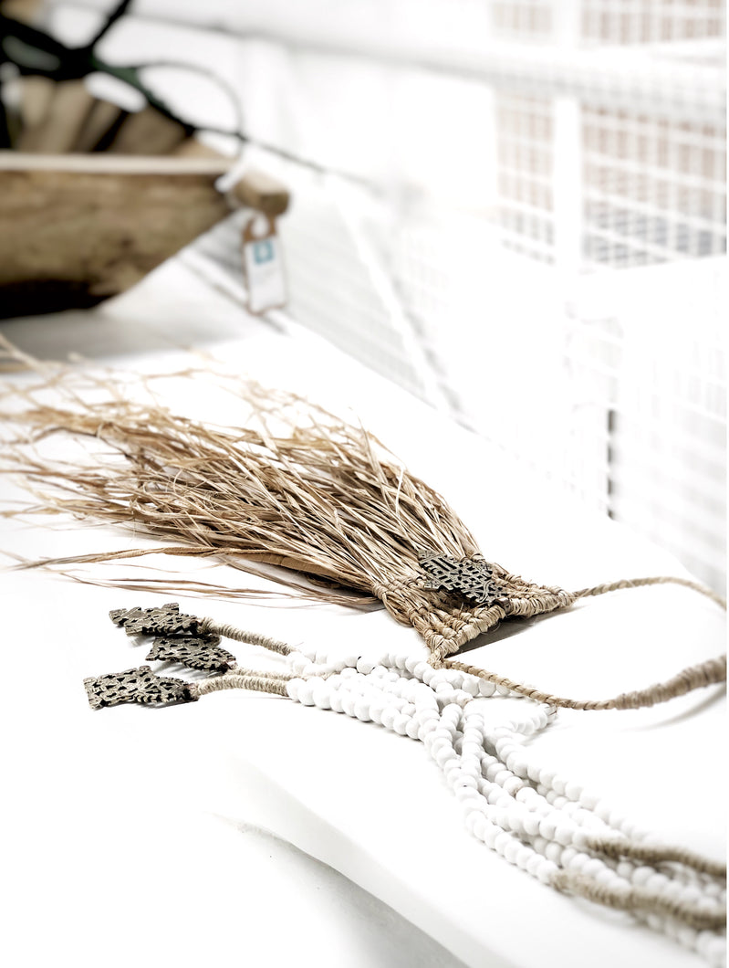 """Fupi"" Raffia Macrame Wall Necklace"