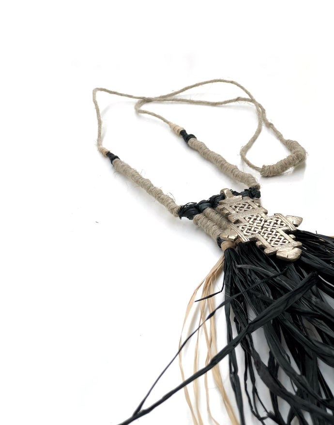 Amadi Raffia Macrame Wall Necklace by roundnine9