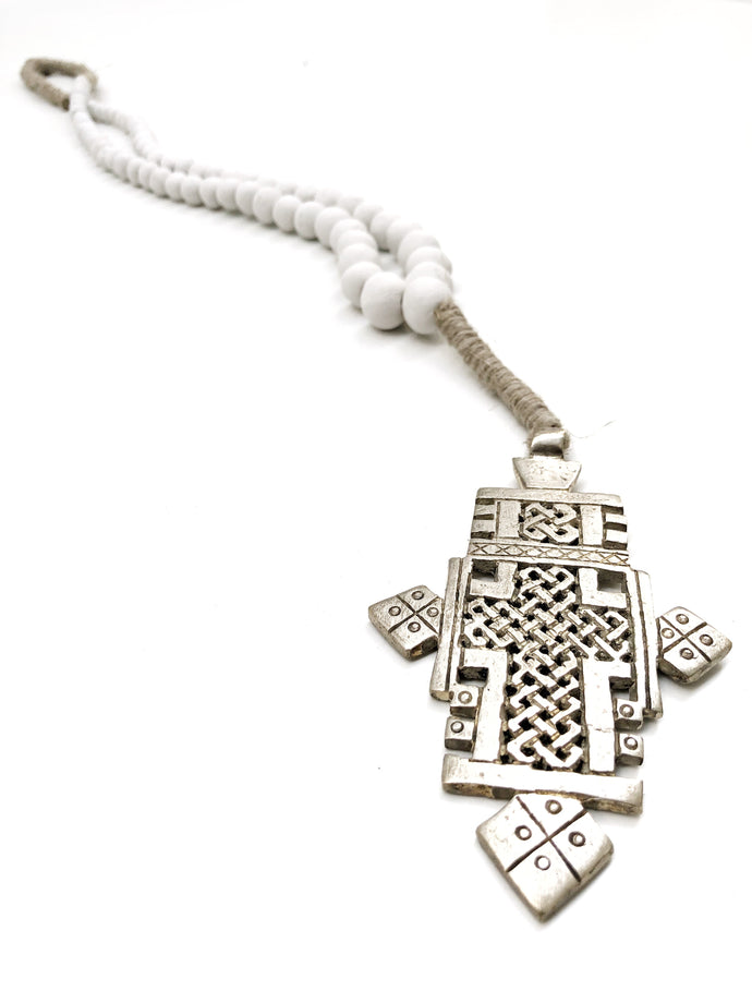 Clay Beaded Ethiopian Cross Wall Necklace - LIMITED EDITION