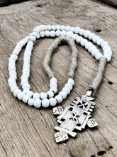 Clay Beaded Ethiopian Cross Wall Necklace