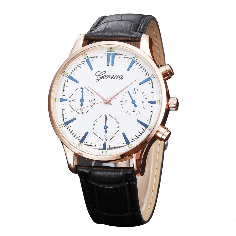 Blue Luxury Leather Watch