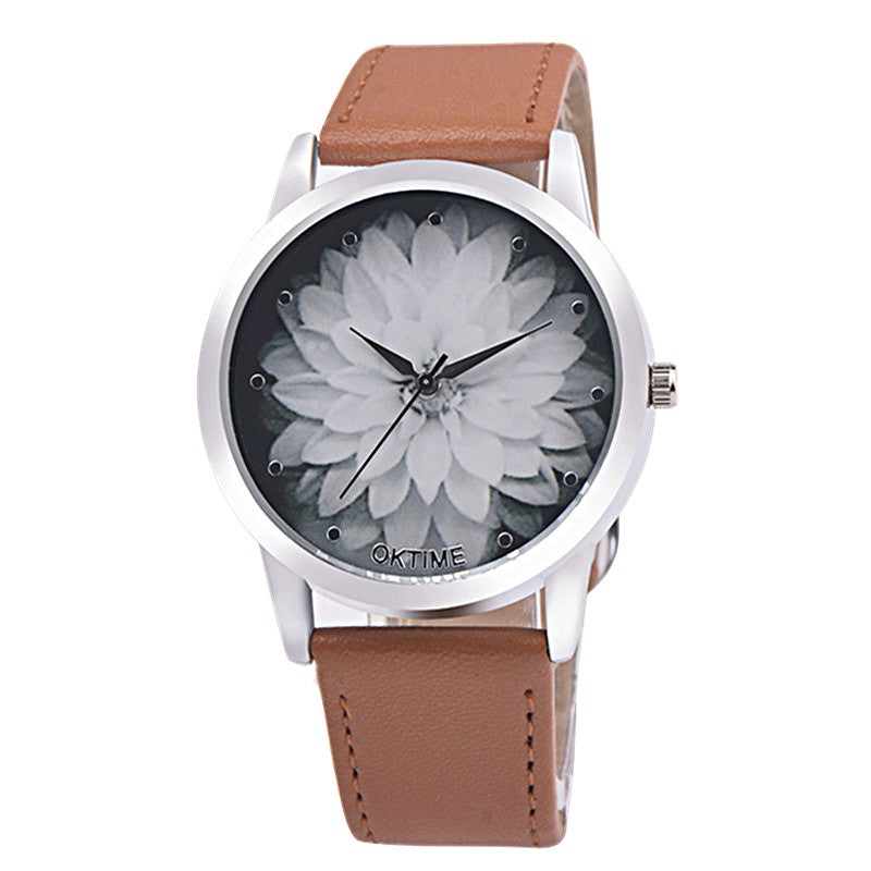 lotus flower leather watch