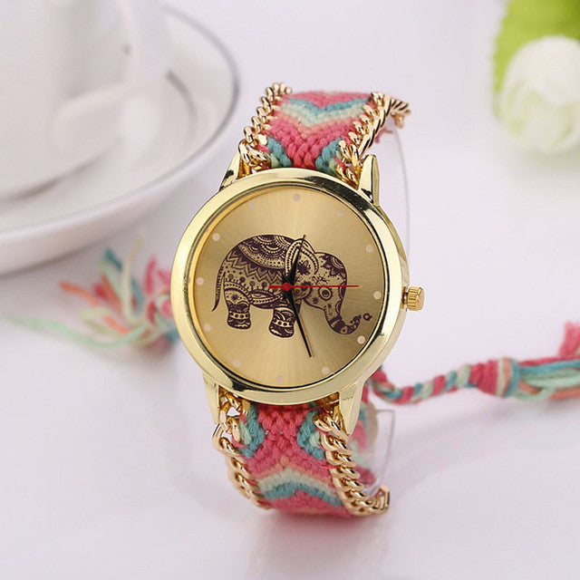 Elephant Gold Colorful Band Women´s Watch (different styles)