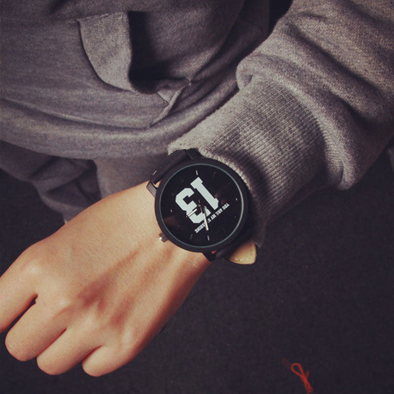 13 letter Black Round Watch