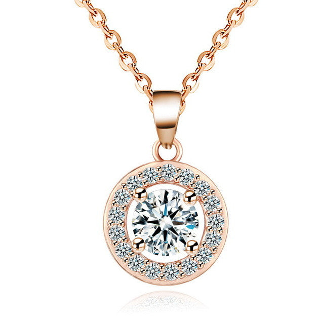 Crystal Circle Pendant Chain Necklace (different styles)