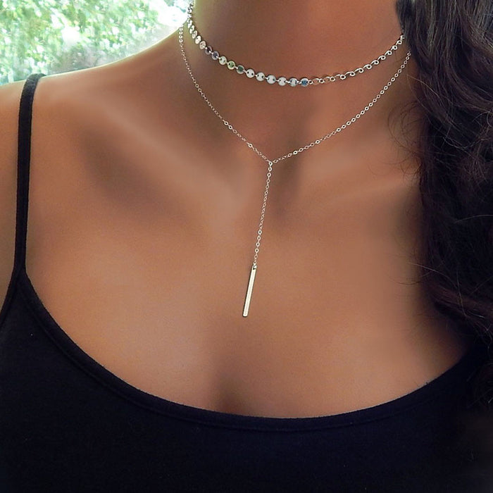 Simple Long Bar Choker (different styles)