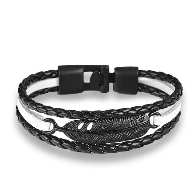 Multilayer leather Feather Arrow bracelet (different styles)