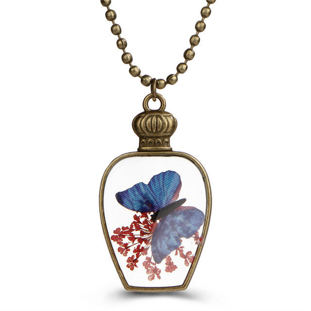 Butterfly in a Bottle Necklace