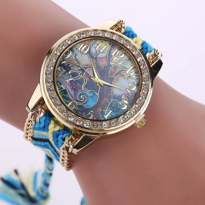 Braided Band Rhinestone Bright tones Women´s Watch (different styles)