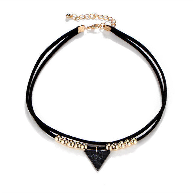 Triangle Stone Choker Double Layer (different styles)