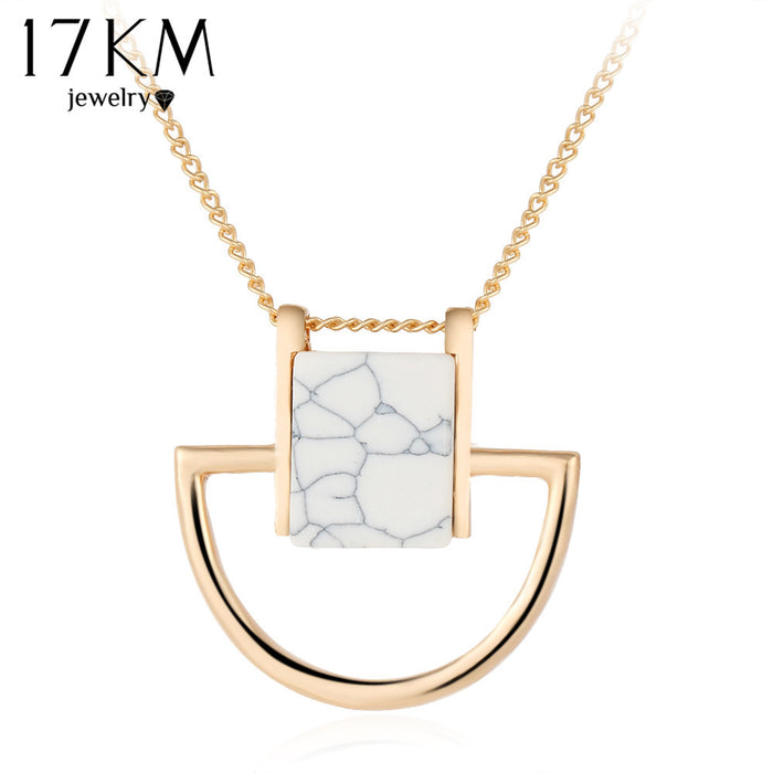 Choker Gold Stone Pendant Necklace
