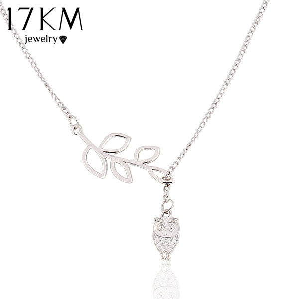 Leaf long chain Owl Pendant Necklace