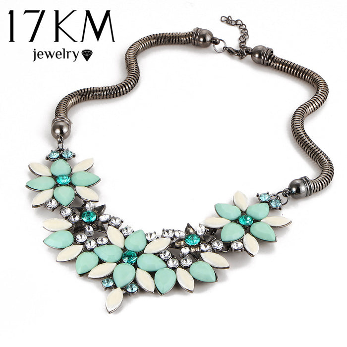 Fashion Retro style Colorful gem flower choker (different styles)