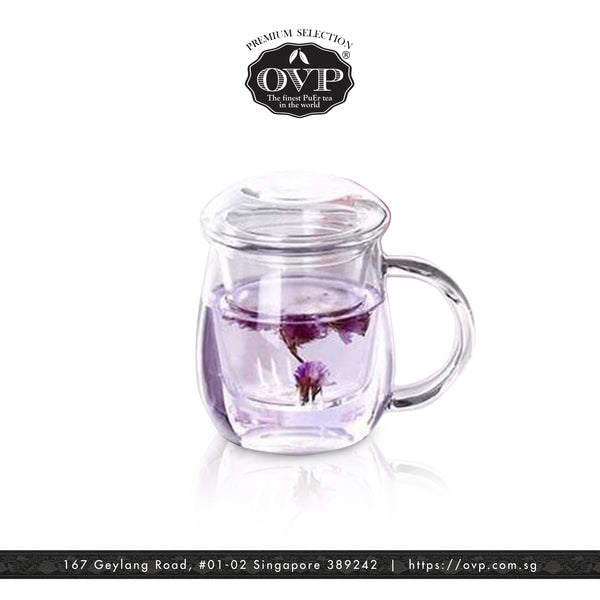 Old Village PuEr Tea Borosilicate Glass Cup with Filter and Lid - OVP Tea