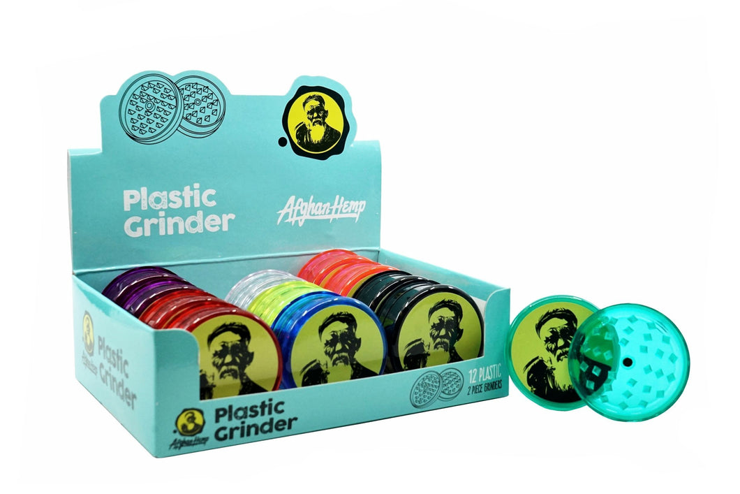 Two Piece Afghan Hemp Plastic Grinder (2 pack)