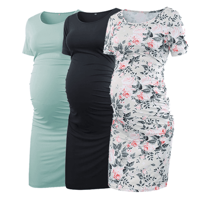 Pack of 3pcs Ruched Side Maternity Bodycon Dress - BUMPSHOW MATERNITY