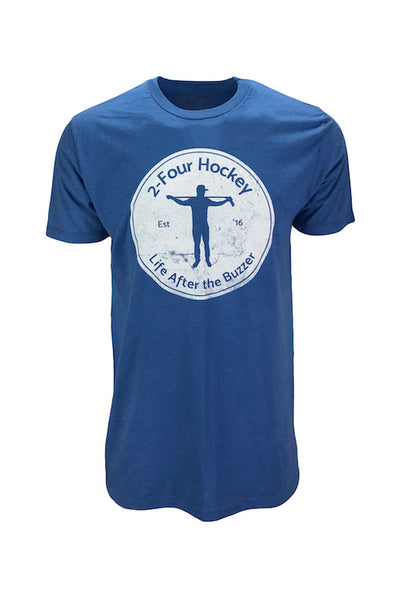Men's 24 hockey distressed blue apparel t-shirt