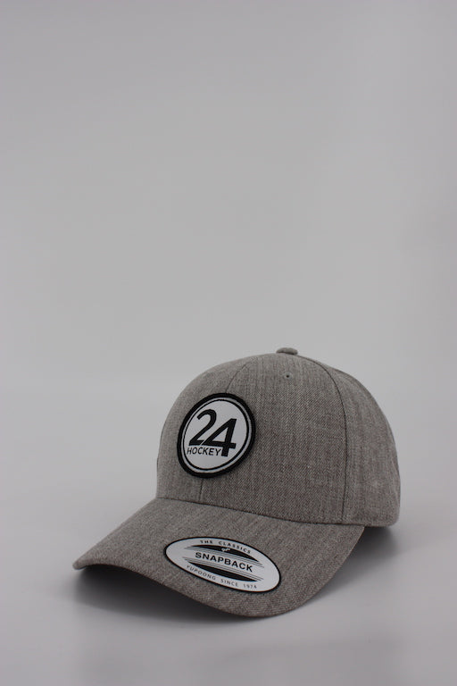 24 Hockey Curved Grey Snapback Hat