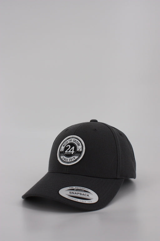 24 Hockey Curved Dark Grey Snapback Hat