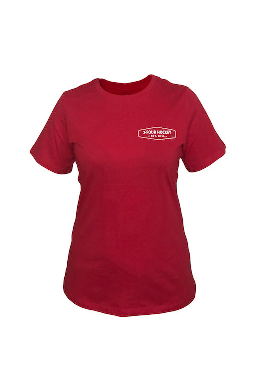Women's 24 red hockey apparel t-shirt