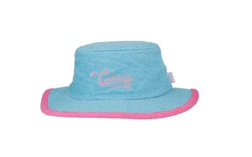 Kids Shelby Narrow Brim Terry Bucket Hat-Aqua/Pink