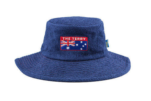 The Aussie Wide Brim Terry Towelling Hat -NavyBlue