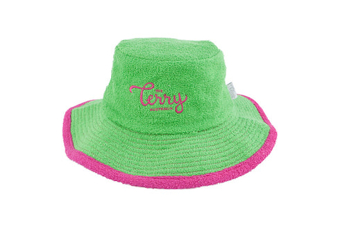 The Terry Towelling Bucket Hat -Green/Pink