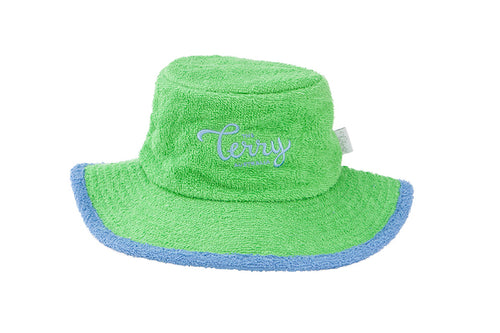 Kids - Green & Mid Blue Wide Brim Terry Towelling Hat