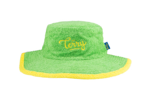 Kids Flynn Wide Brim Terry Bucket Hat-Green/Yellow