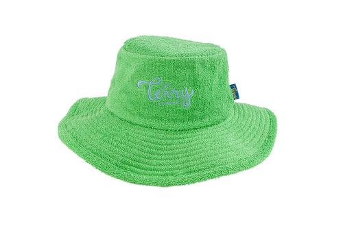 Kids Hunter Wide Brim Terry Bucket Hat-Green/Sky Blue