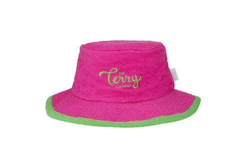 Ladies Bronte Narrow Brim Terry Bucket Hat-HotPink/Green