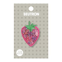 Sequin Hot Pink Strawberry Iron on Motif