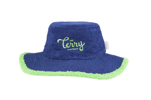 Kids Maxi Wide Brim Terry Bucket Hat-Navy/Green